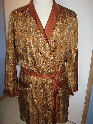 "Vintage St Michael Tricel Paisley Dressing Gown Smoking Jacket 42"" Brown"
