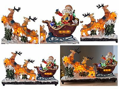 Xmas Pre-Lit Light Up Large Santa in Sleigh with Reindeer Colour Full LED Lights