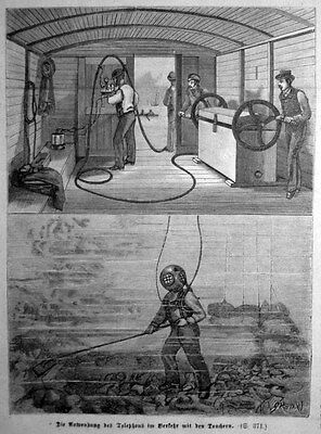 Taucher , Telefon am Meeresbrund - Stich v.1882