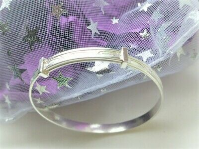 silver baby girls bangles with bells or Boys Christening Birthday Pouch or Boxed