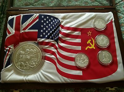 Russia Ww Ii Victory Set And 1995 100 Roubles 1 Kilo Silver Proof Wwii Summit