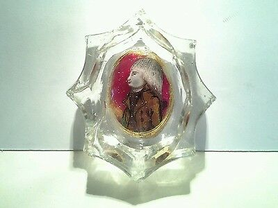 Antique illuminated Child Portrait In Glass Paperweight Pin Holder