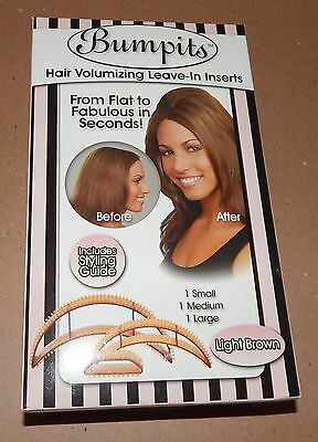 Bumpits Hair Volumizing Inserts Light Brown 3 In Box #229310 Happie Hair 93G