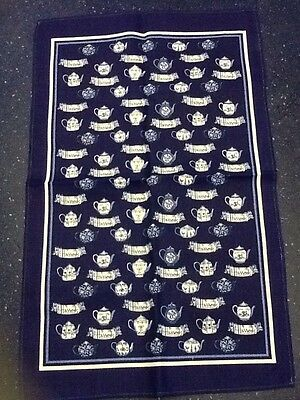 Pair Of Harrods New Linen Tea Towels Old Blue And White Teapots.