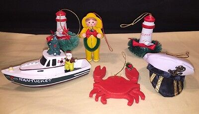 6 Newport RI & Nantucket MA Memorabilia and other Nautical Christmas Ornaments