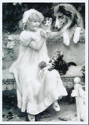 Print Victorian Child Girl Playing Teacher with Pet Kittens & Rough Collie Dog