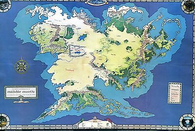 LOTR Middle Earth Map from The Hobbit Game Iron Crown Enterprises NOS MERP 1982
