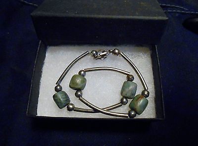 Neat Silver Metal And Blue/green Stone Bracelet. New. Boxed.