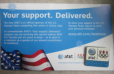 AT&T Lapel Tie Hat Pin Telecommunications Blue White Globe USA Olympics and Card