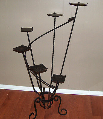 p7583: Antique Large Victorian Black Wrought Iron Plant Stand Tiered Steps