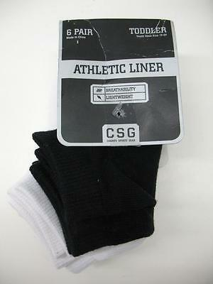 6-pk Champs Low-Cut Athletic Casual Socks Black/White Youth/Toddler 1Y-5Y NWT