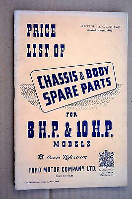 FORD V-8 8 hp 10 hp 1948 Chassis & Body Parts Price List / catalogue RARE book