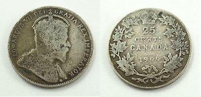 1909 Canada 25 Cents Silver Coin - King Edward VII - VG