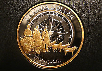 2013 Canada GOLD Plated SILVER PROOF ONE DOLLAR Piece - ARCTIC EXPEDITION Coin!