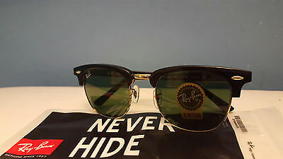 RayBan RB 3016 Clubmaster Black Gold Frame Green Lens Sunglasses 51mm Unisex NEW