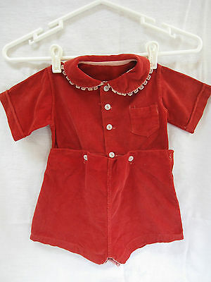 Red Corduroy 50s BOYS Romper Shirt & Shorts Attached by Buttons Playsuit Vtg