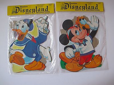 lot of 2 Vintage DISNEYLAND MICKEY DONALD Dennison Cut Out Party Decorations
