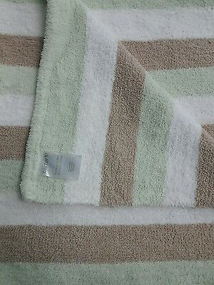Carters Green White Tan Brown Stripe Chenille Baby Security Blanket Lovey Nunu