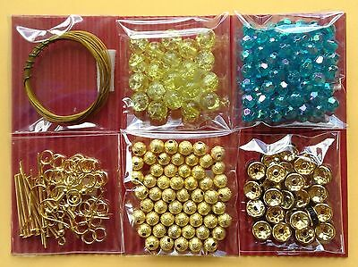 Jewellery Making Kit 6 Bag Craft Bead Findings Yellow Turquoise - Aussie Seller!
