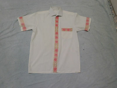 Shirt Vintage mens Cream with Pattern on Front and Sleeves.Chest 108cm gcond