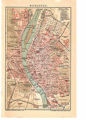 Antique map. HUNGARY. CITY PLAN OF BUDAPEST. Circa 1904