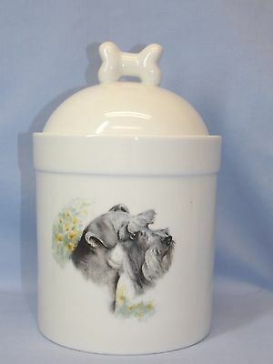 Schnauzer Uncropped Dog Porcelain Treat Jar Fired Head Decal 8In Tall Airtight