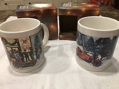 Set Of 2 Harley Davidson Vintage Christmas Collection Coffee Mugs New In Box