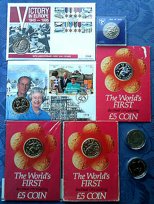Isle of Man £5 Pound Crown Commemorative Coins, BU & Proof,