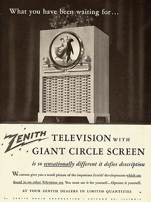 1949 vintage early TV Ad, Zenith 'Giant Circle Screen Television Sets -122213