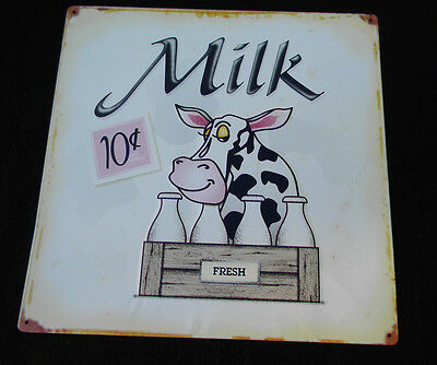 Fresh Milk / Cow Vintage Look Reproduction Metal Sign 14x14