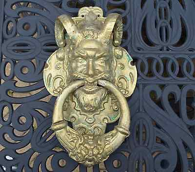 Antique 1830 Victorian Cast Iron Door Knocker,devil Door Knocker,bacchus Knocker