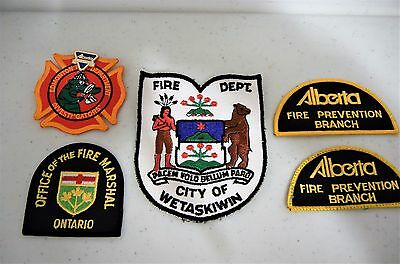 Firefighters Fire Service Patches Badges Canada  Five (5) Wetaskiwin Ontario Alb