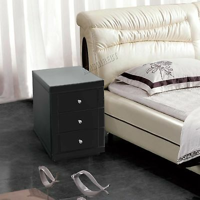 FoxHunter Mirrored Furniture Glass 3 Drawer Bedside Cabinet Table MBC05 Black