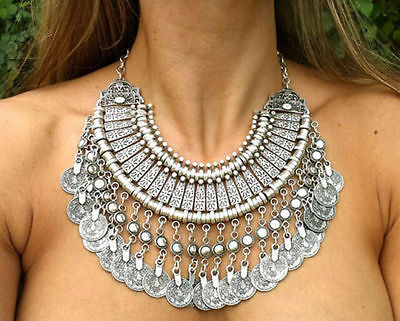 Gypsy Bohemian Vintage Ethnic Tribal Boho Coin Statement Necklace Pendant Gift