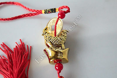 Feng Shui Rooster Zodiac Year of Rooster Rooster on Gold Ingot Hanging Charm