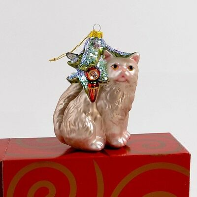 Fantastic Feline! LARGE Gorgeous Cat Christmas Ornament-Blown Glass with Glitter