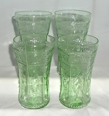 "4 Federal PATRICIAN GREEN *5 1/2"" ICED TEA TUMBLERS*"