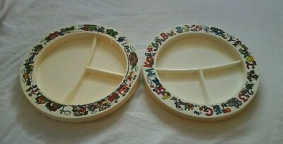 2 Vintage Disney Mickey Mouse Superseal Divided Child's  Dishes