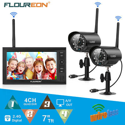 "7"" TFT LCD Wireless CCTV DVR Monitor Home Night Security Kit Video System Camera"