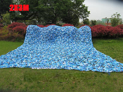 2MX3M Hunting Military Navy Blue Camo Net netting Woodlands Leaves Cover Blinds