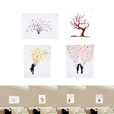 Fingerprint Tree Canvas Wedding Party Guest Signature Poster With 6 Color Ink SS