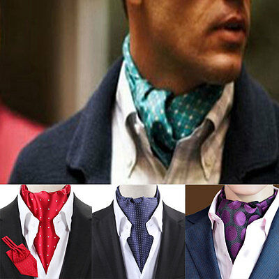 7f766f348d42 14 Design LJ04 Men 100% Silk Cravat Ascot Tie Self Tied Polka Dots Western  Ties