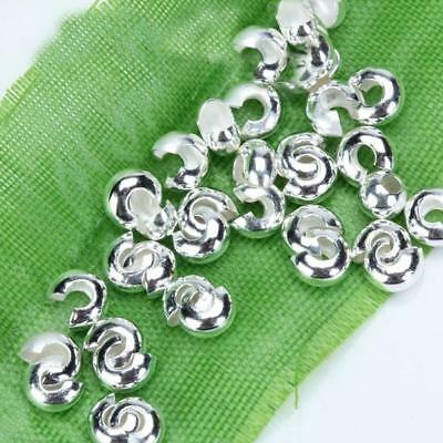 100pcs Silver Tone Crimp Covers Beads Jewelry DIY Making Findings Crafts