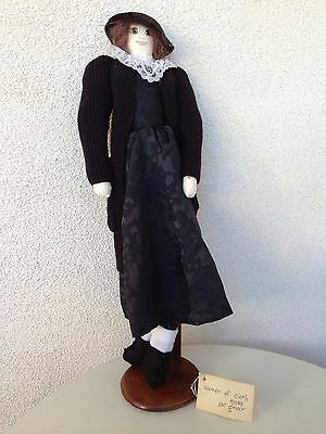 "Vintage Doll By Pat Glover ""Liz"" Black Dress Sweater Woman 17"" made 1985"