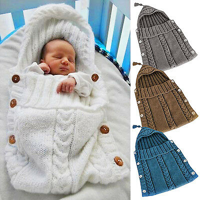 Newborn Infant Swaddle Sleeping Bag Knitted Wool Soft Blanket For 0-1 Years Baby