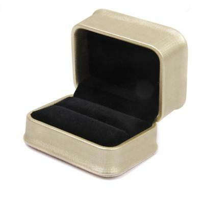 Golden Luxury PU Double Rings Bearer Box Wedding Ceremony Gift Case