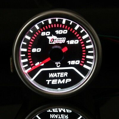 2 52MM Universal Auto Red LED Water Temperature Car Gauge Meter