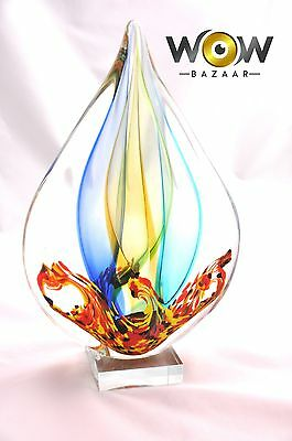 Hand Blown Glass Tear Drop Statue  - Collectible Murano Style Gift