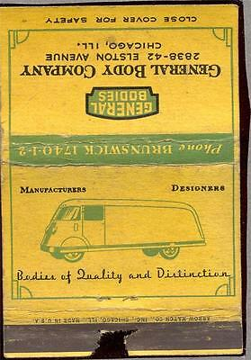 General Body Company Chicago IL. Matchbook 316