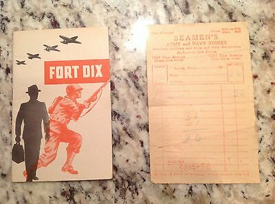 1944 Fort Dix New Jersey booklet WWII Soldier Services Map Army Navy Receipt